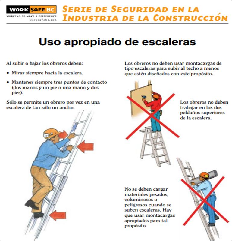 Uso apropiado de escaleras industria de la construcci n for Construccion de escaleras